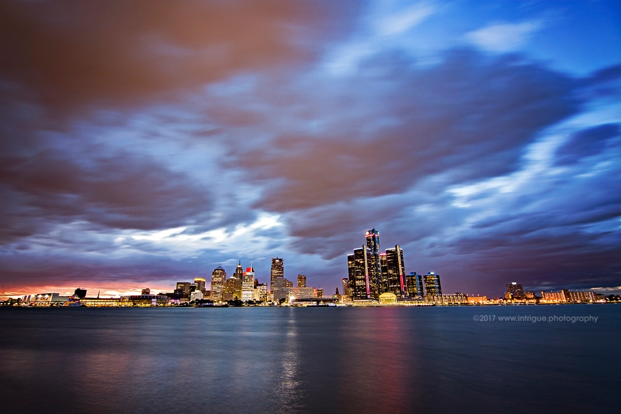 The beutiful Detroit Skyline as seen from Windsor Ontario